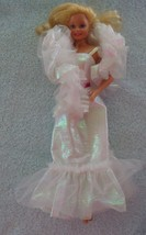Crystal Barbie 1983 Vintage Dress w Super Star Era Doll Boa Necklace - $29.65