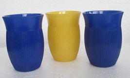 Hazel Atlas Ribbed Juice Glasses, In Blue & Yellow Depression Collectible Glasse - £39.63 GBP