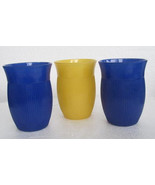 Hazel Atlas Ribbed Juice Glasses, In Blue & Yellow Depression Collectibl... - $48.99