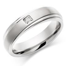 Mens Wedding Band Solid 10k White Gold April Birthstone White Diamond Round Cut  - $799.99