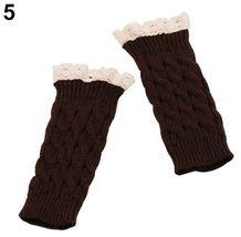 WOMEN Fingerless Lace Gloves Soft Knitted Warm Long Mitten Wrist Warmer ... - $2.54