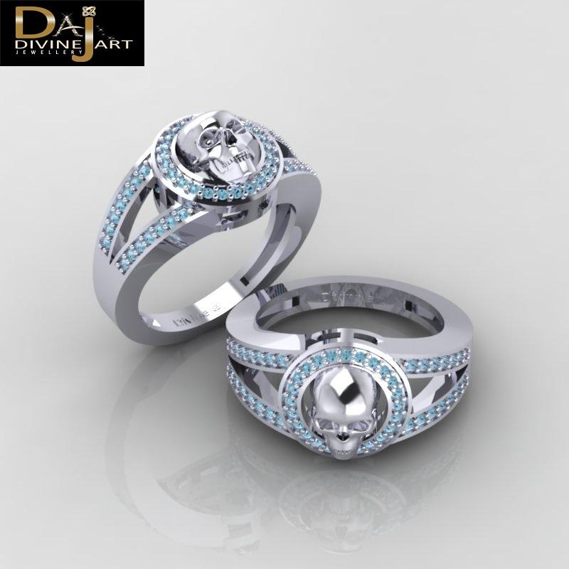 Aqua Diamond Wedding Ring Witchy Vapor Gothic Spooky Skull