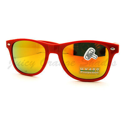 Classic Square Horn Rim Sunglasses Bright Multicolor Mirror Lens