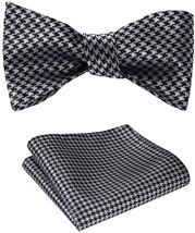 SetSense Men's Houndstooth Jacquard Woven Self Bow Tie Set One Size Black / - $29.40