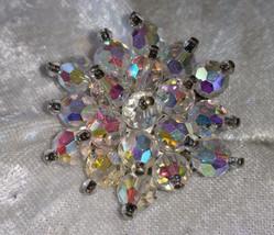 Aurora borealis Crystal glass cluster stunning vintage pin brooch - $28.00