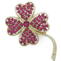Sarah Coventry Brooch PINK ICE Shamrock 4 Leaf Clover Pin - $14.95