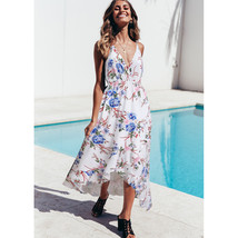 Cheap V-Neck Spaghetti Strap Floral Print Bohemian Women Prom Dress Summ... - $24.77