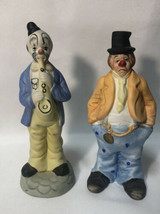 Lot Of 2 Ceramic Clown Figurines - Clown Playing Saxophone And A Sad Clo... - $25.73