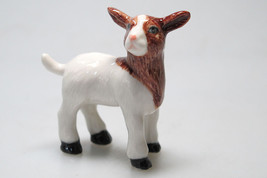 Craft Collectible MINIATURE Ceramic Porcelain Brown Goat FIGURINE Animals - $3.96