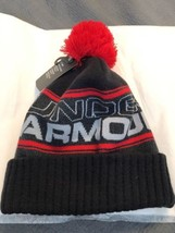 Under Armour Men's Logo Beanie Knit Hat Pom Cuff Charcoal Grey RED New! - $26.72
