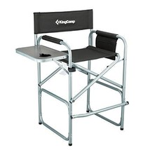 KingCamp Tall Director Chair Collapsible with Side Table Cup Holder Side... - $123.74
