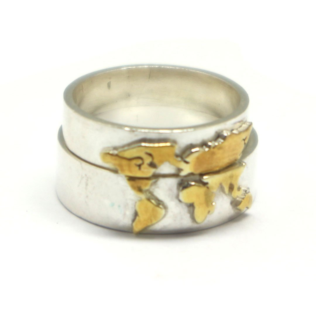 Gold Over Silver World Map Ring