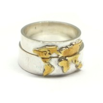 Gold Over Silver World Map Ring image 1