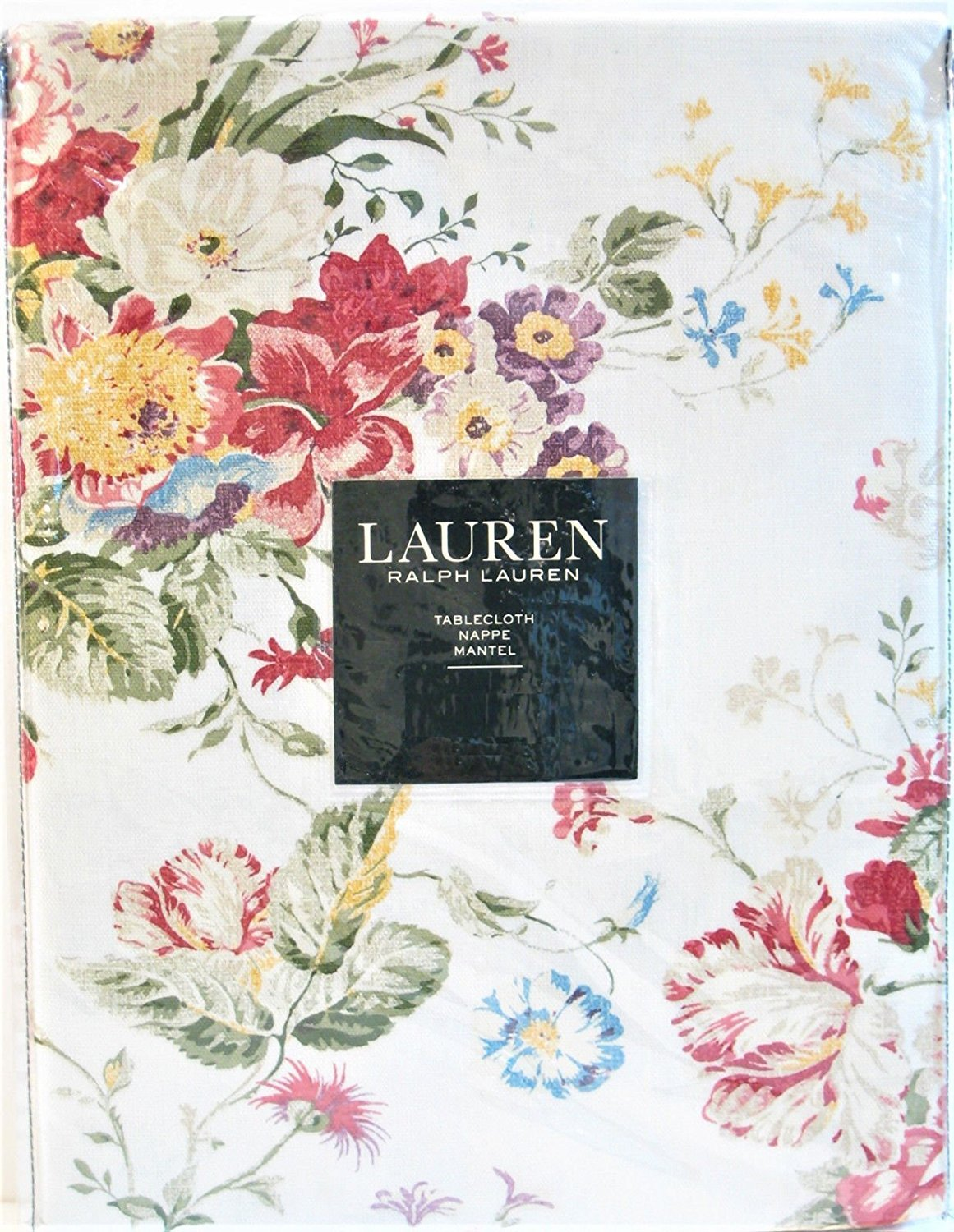 "Ralph Lauren Antibes Floral Red Tablecloth 70"" Round"