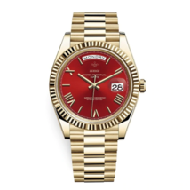 Luxury men's wristwatch in waterproof gold-colored stainless steel and red quart - $89.00