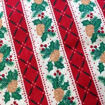 Holiday Pinecones Christmas Stripe Fabric  Vintage 1992 by Fabric Tradit... - $64,00 MXN