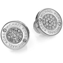 Auth New MICHAEL KORS Round Silver Pave Stud Earrings with Dust Cover - $49.45