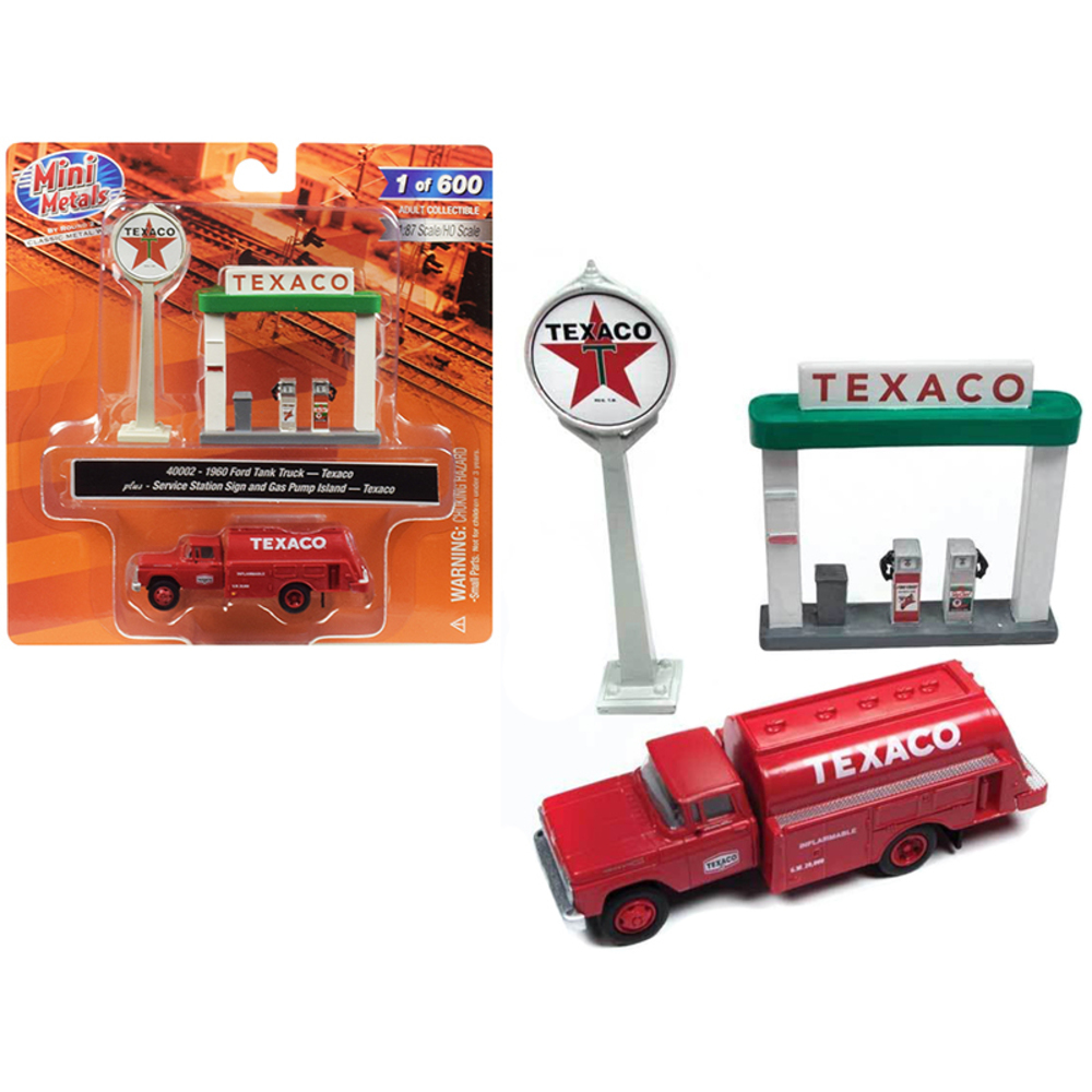 1960 Ford Tank Truck Red with Service Gas Station Texaco 1/87 (HO) Scale Model b