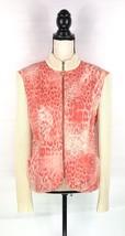 St John Sport Marie Gray Women's Sweater Jacket Sz L Pink Creme Knit Sle... - $46.74