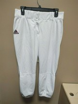 New Adidas Players ID White Maroon Stripe Baseball Pant Medium F82267 - $14.25