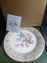 LENOX BOEHM BIRDS Mountain Bluebirds 1972 Porcelain Plate 24-karat Gold - $19.79