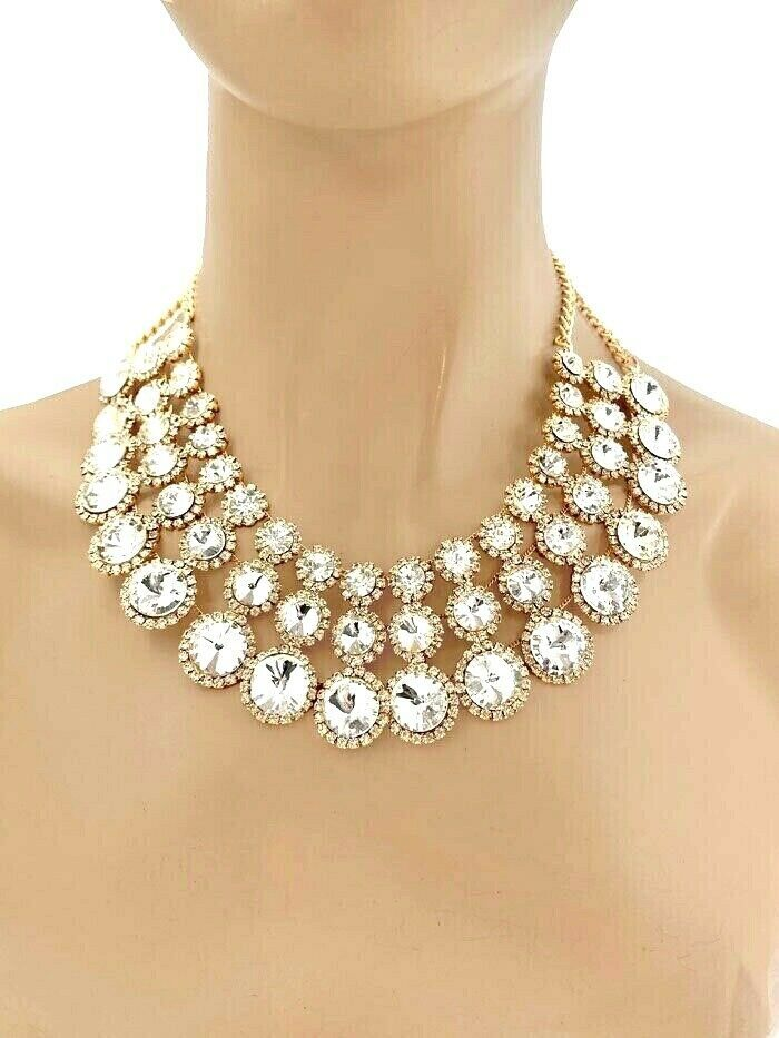 Primary image for Classic Cleopatra Necklace Earrings Jewelry Set Clear Crystals Rhinestones Bride