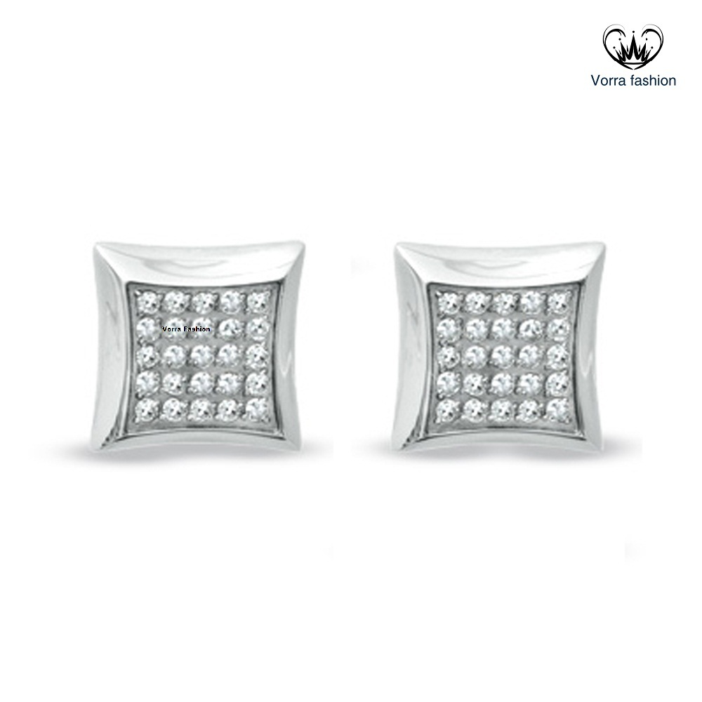 Primary image for Square Shape Stud Earring Diamond 14k White Gold Plated Pure 925 Sterling Silver