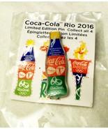 Lapel Cap Hat Pin Coca Cola 2016 Olympics Rio de Janeiro Bottle New in Pkg - $3.92