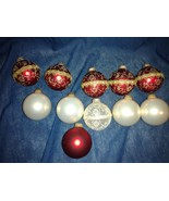 Krebs Glass Ball Christmas Ornaments -  11 Total - Red, White and Red/Gold - $19.97