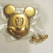 Gold tone mickey mouse brooch and earrings - $33.25
