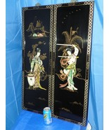 ORIENTAL ASIAN CARVED MOTHER OF PEARL BLACK LACQURED PANELS  SET OF TWO - $395.01