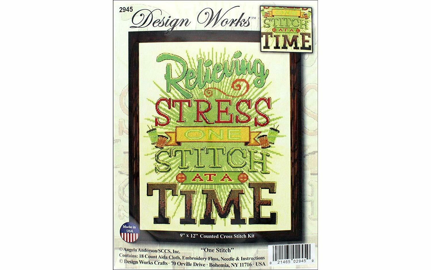 Relieving Stress One Stitch At a Time Counted Cross Stitch Kit New Design Works  - $21.77