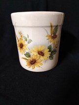 "Shaker & Thangs Pottery Marshall Texas Crock W/lid Sunflowers 5.5""T Farm... - $14.01"