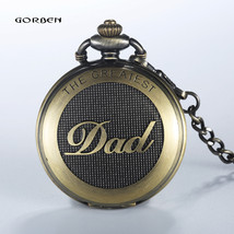 2016 GORBEN Bronze dad pocket watch necklace THE GREATEST Dad FOB Father... - $7.94