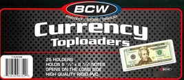 1 Pack of 25 BCW Currency Topload Holder for Regular Bills Rigid/Hard - $10.32