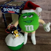 Vintage Christmas M&M 2pcs Green Mrs Santa and Snowball Candy Container ... - $25.34