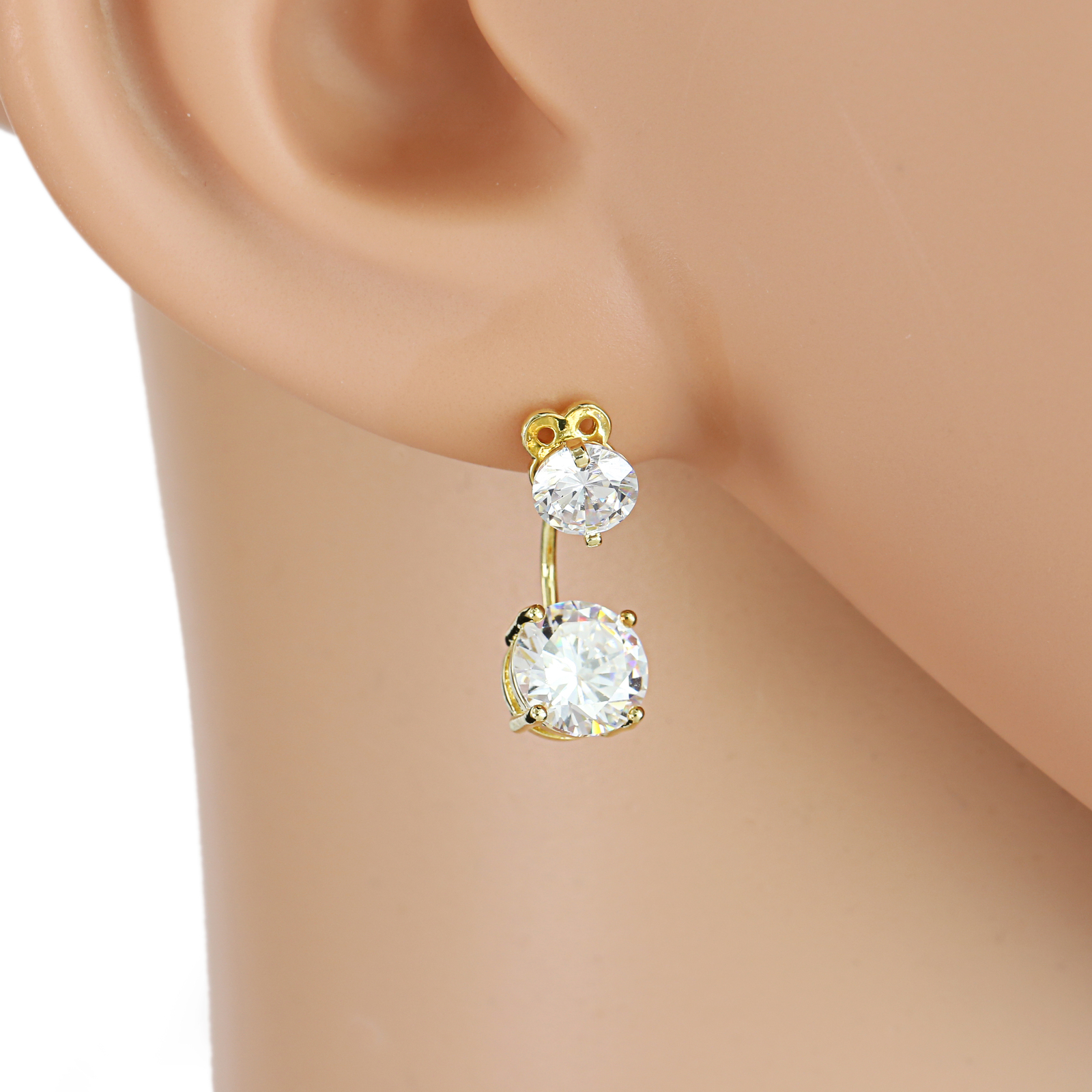 Primary image for UE- Striking Gold Tone Drop Earrings With Sparkling Faux White Sapphire Studs
