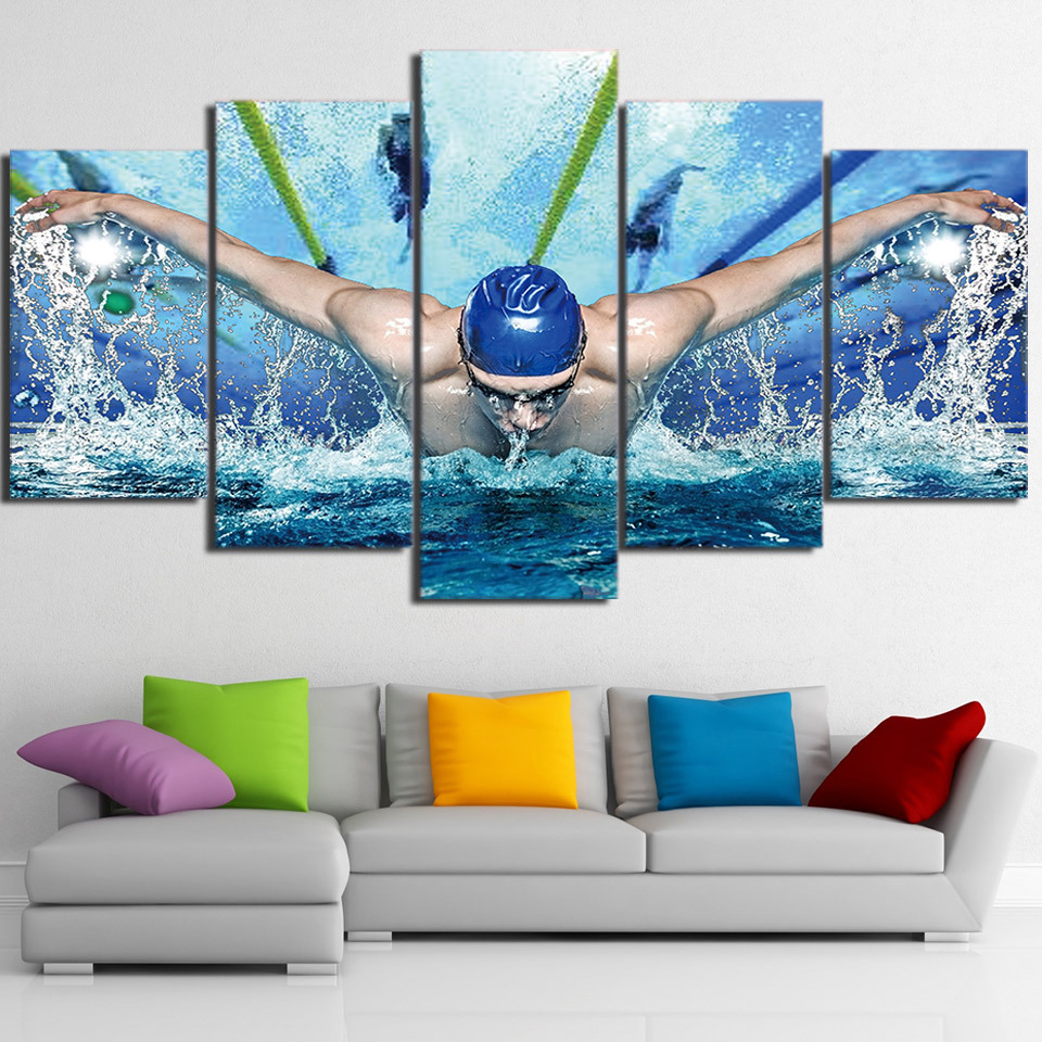 Framed 5 piece swimming pool fitness gym sports poster for Swimming pool home decor