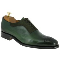 Handmade Men's Green Heart Medallion Leather And Suede Lace Up Oxford Shoes image 3