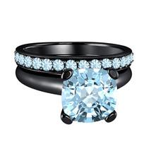 Cushion Cut Aquamarine 14k Black Gold Over 925 Silver Engagement Bridal Ring  - $84.96