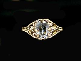 Vintage Antique Art Deco 14KTGE Gray Mine Cut Oval Paste Solitare Ring  ... - $47.69