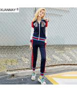 Autumn zipper Cardigan sweater and Trousers up and down Two-piece fashio... - $135.00