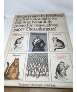 B Kliban 4 Cat Posters 18x24 Set Lot W Envelope Vintage 1970s Art Print 1977 - $73.87