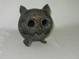 Cast Iron Metal Vintage Owl Bird Figurine 2 piece Brutalist MCM Patina S... - $98.99