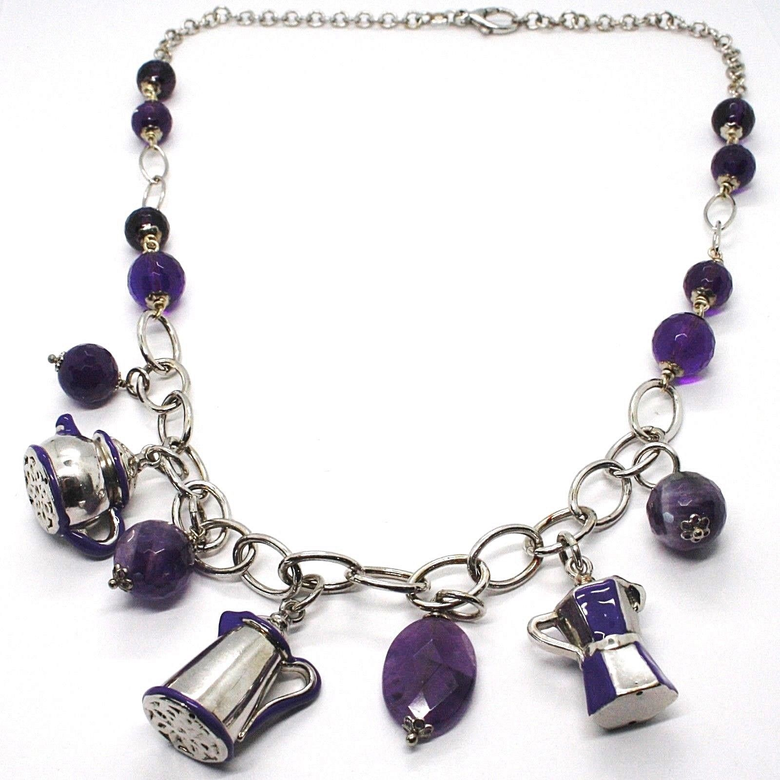 925 Silver Necklace, Amethyst, Mocha, Coffee Maker, Teapot, Pendants tiles