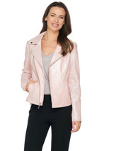 H BY HALSTON Size 12 Pearlized Lamb Leather Motorcycle Jacket ROSE BLUSH - $318.73