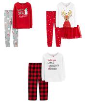 Girls Pajamas Christmas Carters Reindeer Naughty Snowman 2/3 Pc-12, 18 & 24 mths - $13.00