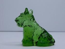 Green Glass Scottish Terrier Dog Vintage Figurine - $12.19