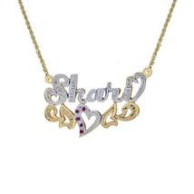 0.10 Carat Diamond & 0.10 Carat Rubies 'Shari' Nameplate Pendant 14K Two Tone Go - $345.51