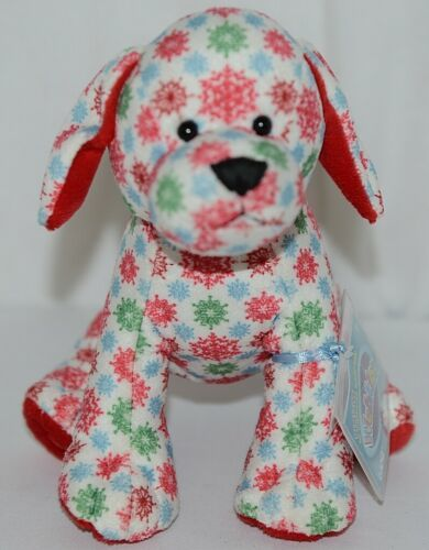 GANZ Brand Webkinz Collection HM691 Red Blue Green Color Snowflake Pup